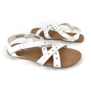 AEO White Leather Silver Stars Strappy Sandals